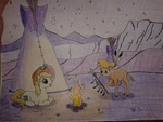 Size: 640x480 | Tagged: safe, artist:hickory17, little strongheart, oc, oc:hickory switch, buffalo, earth pony, pony, blonde mane, blue eyes, cowboy hat, female, fire, hat, hickory's journey, male, night, scenery, show accurate, spear, stallion, stars, stetson, tipi, traditional art, weapon, white pony