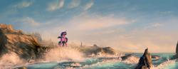 Size: 2600x1008 | Tagged: dead source, safe, artist:shamanguli, twilight sparkle, alicorn, pony, seagull, female, mare, ocean, scenery, scenery porn, solo, twilight sparkle (alicorn), water, wave