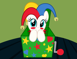 Size: 3300x2550 | Tagged: safe, artist:badumsquish, derpibooru exclusive, oc, oc only, oc:poppyjack, object pony, original species, pony, badumsquish is trying to murder us, badumsquish strikes again, bells, blush sticker, blushing, box, cute, feels, female, hat, jack-in-the-box, jester, jester hat, leaning, looking at you, makeup, ocbetes, ponified, pony in a box, shy, solo, story included, table