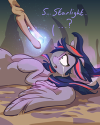 Size: 2295x2868 | Tagged: safe, artist:ruby, twilight sparkle, alicorn, pony, bad end, betrayal, crying, female, imminent death, implied starlight glimmer, mare, staff, staff of sameness, the bad guy wins, twilight sparkle (alicorn)