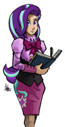 Size: 386x750 | Tagged: safe, artist:theartrix, starlight glimmer, human, the crystalling, book, clothes, female, humanized, pen, simple background, skirt, solo, transparent background