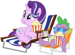Size: 1936x1432 | Tagged: safe, artist:masem, artist:xebck, spike, starlight glimmer, dragon, pony, unicorn, the crystalling, the cutie re-mark, :t, aweeg*, chair, cute, drink, drinking, eating, female, food, glass, juice, lemonade, lounge chair, male, on side, popcorn, popcorn buddies, puffy cheeks, shipping, simple background, sitting, smiling, sparlight, straight, straw, sunglasses, transparent background, underhoof, vector
