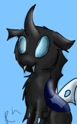 Size: 800x1280 | Tagged: :3, artist:ravenhoof, changeling, chest fluff, cute, fluffy, safe, smiling, solo
