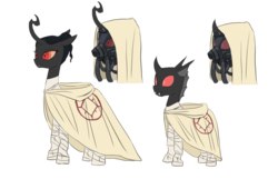 Size: 1024x661 | Tagged: safe, artist:carnifex, oc, oc only, changeling, changeling queen, changeling queen oc, crossover, female, gas mask, homeworld, red changeling, robes, simple background, transparent background