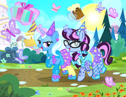 Size: 1200x927   Tagged: safe, artist:pixelkitties, trixie, oc, oc:pixelkitties, butterfly, pony, unicorn, alcohol, beer, birthday, clothes, fishnets, food, glasses, hat, levitation, looking at you, magic, open mouth, pantyhose, party hat, present, raised hoof, shoes, skirt, sun, telekinesis
