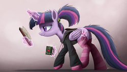 Size: 3000x1688 | Tagged: safe, artist:ncmares, twilight sparkle, alicorn, pony, ask majesty incarnate, alternate hairstyle, bed mane, book, calculus, clothes, female, mare, math, socks, solo, stockings, striped socks, sweater, twilight sparkle (alicorn)