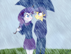 Size: 800x600   Tagged: safe, artist:ultrard, comet tail, rarity, equestria girls, blushing, colored pupils, cometity, eye contact, female, looking at each other, male, rain, shipping, straight, umbrella
