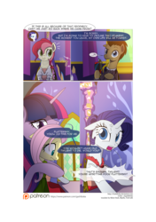 Size: 3541x5016 | Tagged: safe, artist:gashiboka, doctor whooves, fluttershy, rarity, roseluck, time turner, twilight sparkle, alicorn, earth pony, pegasus, pony, unicorn, comic:recall the time of no return, comic, patreon, patreon logo, pointy ponies, twilight sparkle (alicorn), twilight's castle