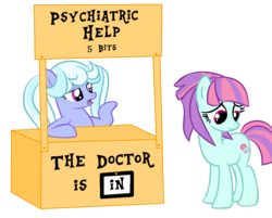 Size: 992x796 | Tagged: safe, artist:berrypunchrules, sugarcoat, sunny flare, equestria girls, charlie brown, equestria girls ponified, lucy's advice booth, peanuts, ponified, psychiatrist, sad, simple background, transparent background