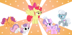 Size: 6000x2953 | Tagged: safe, artist:sketchmcreations, apple bloom, diamond tiara, scootaloo, silver spoon, sweetie belle, alicorn, pony, absurd resolution, alicornified, apple bloom is not amused, bloomicorn, bowing, cutie mark crusaders, race swap, simple background, transparent background