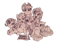 Size: 1115x772 | Tagged: adoption, applejack, artist:buttersprinkle, blank flank, c:, cute, :d, dashabetes, diapinkes, earth pony, female, filly, floppy ears, fluttershy, happy, jackabetes, leaning, looking up, mane six, :o, one eye closed, open mouth, pegasus, pen drawing, petting, pinkie pie, pony, prone, rainbow dash, raribetes, rarity, safe, shyabetes, simple background, sitting, smiling, smirk, spread wings, :t, traditional art, twiabetes, twilight sparkle, unicorn, white background, wings, wink, younger