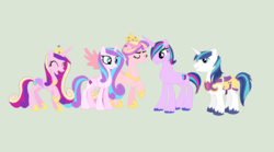 Size: 1584x882 | Tagged: safe, artist:obeliskgirljohanny, princess cadance, princess flurry heart, princess skyla, shining armor, oc, oc:radiant shield, spoiler:s06, crystal sisters, family, female, husband and wife, male, next generation, offspring, older, parent:princess cadance, parent:shining armor, parents:shiningcadance, shiningcadance, shipping, siblings, sisters, straight, what if
