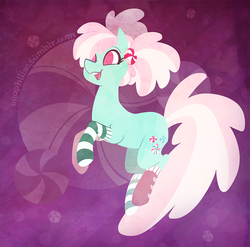 Size: 900x889 | Tagged: safe, artist:egophiliac, minty, earth pony, pony, g3, clothes, female, g3 to g4, generation leap, mare, socks, solo, striped socks
