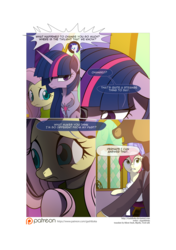 Size: 3541x5016 | Tagged: safe, artist:gashiboka, doctor whooves, fluttershy, rarity, roseluck, time turner, twilight sparkle, alicorn, pony, comic:recall the time of no return, comic, female, mare, patreon, patreon logo, twilight sparkle (alicorn)