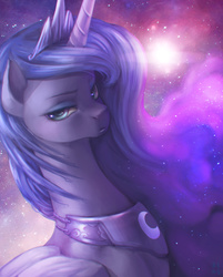 Size: 2500x3114   Tagged: safe, artist:mrs1989, princess luna, alicorn, pony, annoyed, chromatic aberration, ethereal mane, featured image, female, frown, galaxy mane, glare, looking at you, pouting, solo, stars, unamused