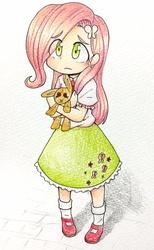 Size: 630x1024 | Tagged: safe, artist:yukimaki, fluttershy, human, female, humanized, solo