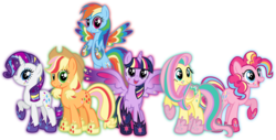 Size: 8480x4310 | Tagged: safe, artist:osipush, applejack, fluttershy, pinkie pie, rainbow dash, rarity, twilight sparkle, alicorn, pony, absurd resolution, colored wings, commission, cutie mark magic, female, mane six, mare, multicolored wings, open mouth, rainbow power, rainbow power-ified, rainbow wings, simple background, transparent background, twilight sparkle (alicorn), vector, wingding eyes