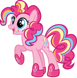 Size: 4944x5004   Tagged: safe, artist:osipush, pinkie pie, absurd resolution, cutie mark magic, female, open mouth, rainbow power, rainbow power-ified, raised hoof, simple background, solo, transparent background, vector