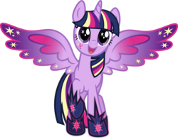 Size: 5169x4049 | Tagged: safe, artist:osipush, twilight sparkle, alicorn, pony, absurd resolution, colored wings, cutie mark magic, female, mare, multicolored wings, open mouth, rainbow power, rainbow power-ified, rainbow wings, raised hoof, simple background, solo, transparent background, twilight sparkle (alicorn), vector