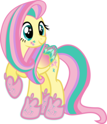 Size: 4340x5030   Tagged: safe, artist:osipush, fluttershy, absurd resolution, colored wings, cutie mark magic, female, multicolored wings, rainbow power, rainbow power-ified, rainbow wings, raised hoof, simple background, solo, transparent background, vector