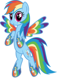 Size: 3915x5316   Tagged: safe, artist:osipush, rainbow dash, colored wings, cutie mark magic, female, multicolored wings, rainbow power, rainbow power rainbow dash, rainbow power-ified, rainbow wings, simple background, solo, transparent background, vector, wingding eyes
