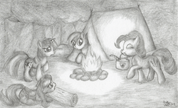 Size: 1434x871 | Tagged: artist:kuroitsubasatenshi, camping, fluttershy, monochrome, pinkie logic, pinkie pie, rainbow dash, safe, this will end in explosions, this will end in fire, this will end in tears, traditional art, twilight sparkle