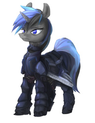 Size: 1180x1525 | Tagged: safe, artist:eto ya, oc, oc only, pony, unicorn, armor, concept, simple background, solo