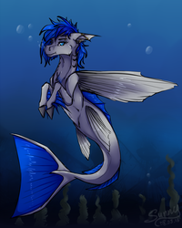 Size: 1280x1597 | Tagged: safe, artist:sunny way, oc, oc only, oc:sapphire sights, fish, merpony, bubble, fins, gauges, piercing, rcf community, solo, species swap, underwater
