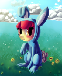 Size: 726x889 | Tagged: safe, artist:mewball, apple bloom, adorabloom, blushing, bunny bloom, bunny costume, clothes, cute, solo