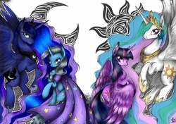 Size: 2048x1440   Tagged: safe, artist:alicetam, princess celestia, princess luna, trixie, twilight sparkle, alicorn, pony, unicorn, :o, chest fluff, ear fluff, female, fluffy, flying, lidded eyes, looking at you, looking back, mare, moon, open mouth, raised hoof, shoulder fluff, simple background, sitting, smiling, spread wings, sun, twilight sparkle (alicorn), white background, wing fluff, wings