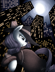 Size: 989x1280 | Tagged: safe, artist:katseartist, rarity, pony, unicorn, city, clothes, coat, detective, detective rarity, female, hat, mare, moon, night, noir, profile, skyscraper, solo