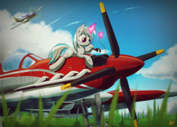 Size: 3000x2158 | Tagged: safe, artist:ruhisu, oc, oc only, oc:windshear, pony, unicorn, aircraft, airfield, cloud, colored pupils, commission, engineer, female, grass, levitation, magic, mare, mustang, plane, repairing, solo, telekinesis, wrench