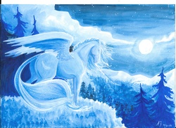 Size: 3507x2550 | Tagged: safe, artist:linkenparklove, princess luna, cliff, eyes closed, female, forest, moon, night, realistic, scenery, solo, spread wings, traditional art