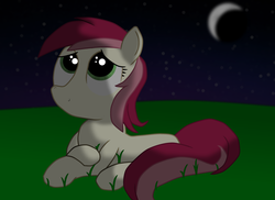 Size: 3510x2550 | Tagged: safe, artist:sweetbrew, roseluck, earth pony, pony, crescent moon, female, looking away, looking up, mare, moon, night, outdoors, prone, solo, stars