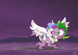 Size: 1024x725 | Tagged: safe, artist:loreto-arts, princess flurry heart, spike, alicorn, dragon, pony, baby, baby pony, cute, female, filly, flurry heart riding spike, flurrybetes, happy, male, ponies riding dragons, quadrupedal spike, riding, spikabetes, spread wings, uncle and niece, uncle spike, wings