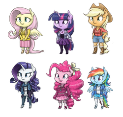 Size: 1600x1529 | Tagged: safe, artist:king-kakapo, applejack, fluttershy, pinkie pie, rainbow dash, rarity, twilight sparkle, anthro, unguligrade anthro, alternate hairstyle, arm hooves, boots, chibi, clothes, cloven hooves, dress, earring, frilly dress, high heels, hoodie, hoof hands, jacket, mane six, necklace, off shoulder, off shoulder sweater, pants, pantyhose, piercing, plaid, ribbon, scarf, shoes, short hair, shorts, skirt, sneakers, socks, suspenders, sweater, tongue out, unshorn fetlocks, watch