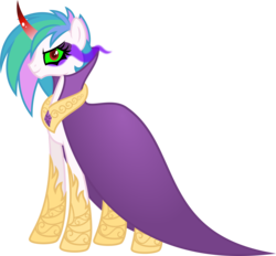 Size: 5383x4989   Tagged: safe, artist:osipush, king sombra, princess celestia, pony, unicorn, absurd resolution, alternate gender counterpart, cape, clothes, colored horn, curved horn, dark magic, female, horn, inkscape, magic, mare, red eyes, simple background, solo, sombra eyes, sombra horn, transparent background, vector