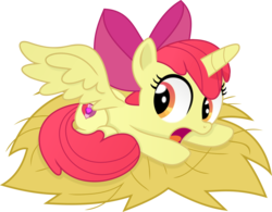 Size: 4082x3188 | Tagged: safe, artist:kehrminator, apple bloom, alicorn, pony, alicornified, backwards cutie mark, bloomicorn, cutie mark, female, filly, nest, race swap, simple background, solo, the cmc's cutie marks, transparent background