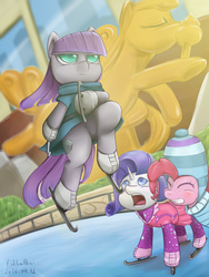 Size: 1536x2048 | Tagged: safe, artist:fishballkai, maud pie, pinkie pie, rarity, the gift of the maud pie, clothes, ice rink, ice skates, ice skating, jumping, majestic as fuck, maudjestic, skating, statue of prometheus