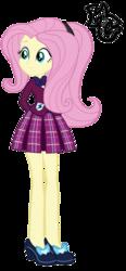 Size: 1317x2838 | Tagged: safe, artist:hellgirl66618, fluttershy, equestria girls, alternate universe, clothes, crystal prep academy uniform, female, school uniform, solo