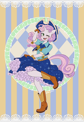 Size: 1000x1453 | Tagged: safe, artist:buryooooo, sweetie belle, anthro, plantigrade anthro, belt, blouse, boots, clothes, cow belle, cowboy boots, cowboy hat, cowgirl, cute, dancing, diasweetes, gloves, hat, music notes, open mouth, petticoat, raised leg, shirt, skirt, solo, sparkles, square dance, stetson, vest, wink