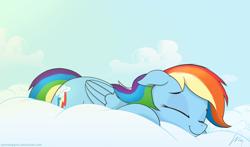 Size: 1280x753 | Tagged: safe, artist:wonkysole, rainbow dash, pegasus, pony, cloud, cute, dashabetes, eyes closed, female, floppy ears, lying down, mare, on a cloud, prone, sleeping, sleeping on a cloud, smiling, solo