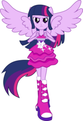 Size: 1455x2133 | Tagged: artist:kimberlythehedgie, bare shoulders, boots, clothes, dress, equestria girls, fall formal outfits, fist, high heel boots, looking at you, ponied up, ponytail, safe, simple background, sleeveless, solo, strapless, transparent background, twilight ball dress, twilight sparkle, twilight sparkle (alicorn), vector, wings