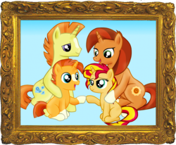 Size: 873x720 | Tagged: safe, artist:majkashinoda626, stellar flare, sunburst, sunset shimmer, sunspot (character), pony, unicorn, blaze (coat marking), brother and sister, coat marking, colt, colt sunburst, family, father and daughter, father and son, female, filly, filly sunset shimmer, headcanon, insane fan theory, like father like daughter, like father like son, like mother like daughter, male, mare, mother and daughter, siblings, socks (coat marking), stallion, sunny siblings, young, younger