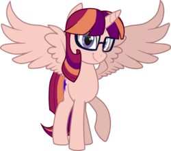 Size: 2588x2284 | Tagged: alicorn, alicorn oc, artist:namygaga, magical lesbian spawn, oc, oc only, oc:violet sunrise, offspring, parent:sci-twi, parents:scitwishimmer, parents:sunsetsparkle, parent:sunset shimmer, parent:twilight sparkle, pony, safe, simple background, solo, transparent background