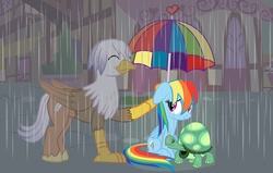 Size: 1600x1015 | Tagged: safe, artist:mlp-silver-quill, idw, rainbow dash, tank, oc, oc:silver quill, classical hippogriff, hippogriff, rain, umbrella
