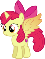 Size: 2921x3787 | Tagged: safe, artist:kimberlythehedgie, apple bloom, alicorn, pony, alicornified, bloomicorn, colored wings, cutie mark, female, filly, gradient wings, race swap, simple background, solo, the cmc's cutie marks, transparent background, vector, xk-class end-of-the-world scenario
