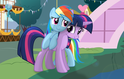 Size: 3073x1967 | Tagged: safe, artist:shutterflyeqd, rainbow dash, twilight sparkle, alicorn, pony, blushing, bridge, c:, cute, dashabetes, duo, female, leaning, lesbian, mare, ponyville town hall, ribbon, river, shipping, smiling, tree, twiabetes, twidash, twilight sparkle (alicorn)