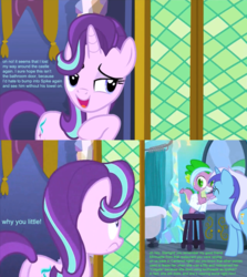 Size: 1500x1683 | Tagged: safe, edit, edited screencap, hundreds of users filter this tag, screencap, minuette, spike, starlight glimmer, the crystalling, angry, bathroom, bathtub, bedroom eyes, clothes, conversation, curtains, door, eyes closed, female, implied kissing, jealous, love triangle, male, mirror, screencap comic, shipping, slippers, sparlight, spigate, stool, straight, tl;dr, toothbrush, toothpaste, towel