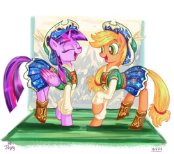 Size: 816x721 | Tagged: safe, artist:jowybean, applejack, twilight sparkle, alicorn, earth pony, pony, twijack weekly, clothes, cute, dancing, female, jackabetes, lesbian, mare, open mouth, raised hoof, shipping, square dance, twiabetes, twijack, twilight sparkle (alicorn)